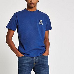 Franklin & Marshall – T-shirt bleu à logo sur la poitrine