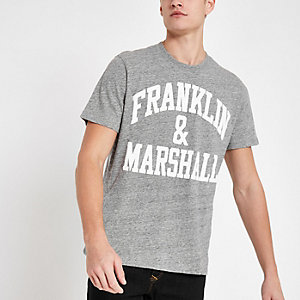 Franklin & Marshall - Grijs T-shirt met logoprint