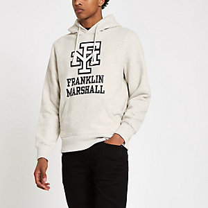 Franklin & Marshall – Sweat à capuche imprimé logo écru