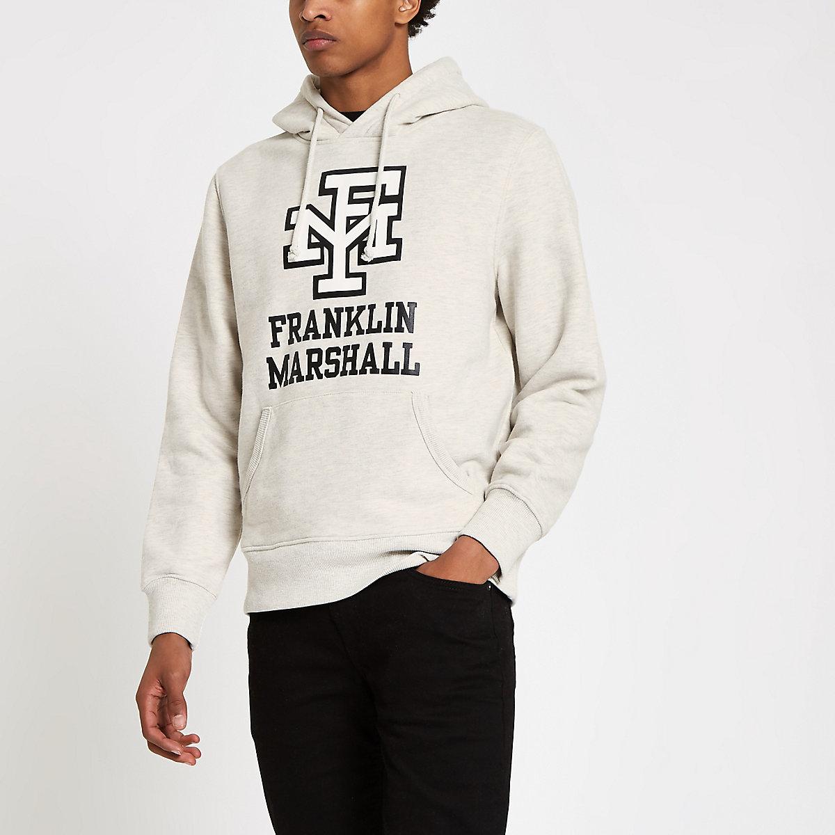Franklin & Marshall ecru logo print hoodie