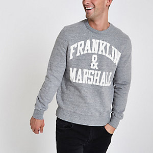Franklin & Marshall - Grijze pullover met ronde hals