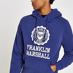 Franklin & Marshall blue logo print hoodie