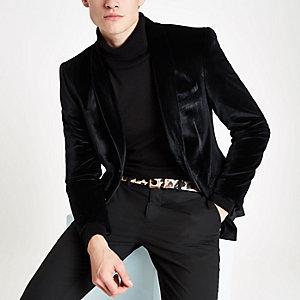 Olly Murs - Zwarte fluwelen skinny-fit blazer