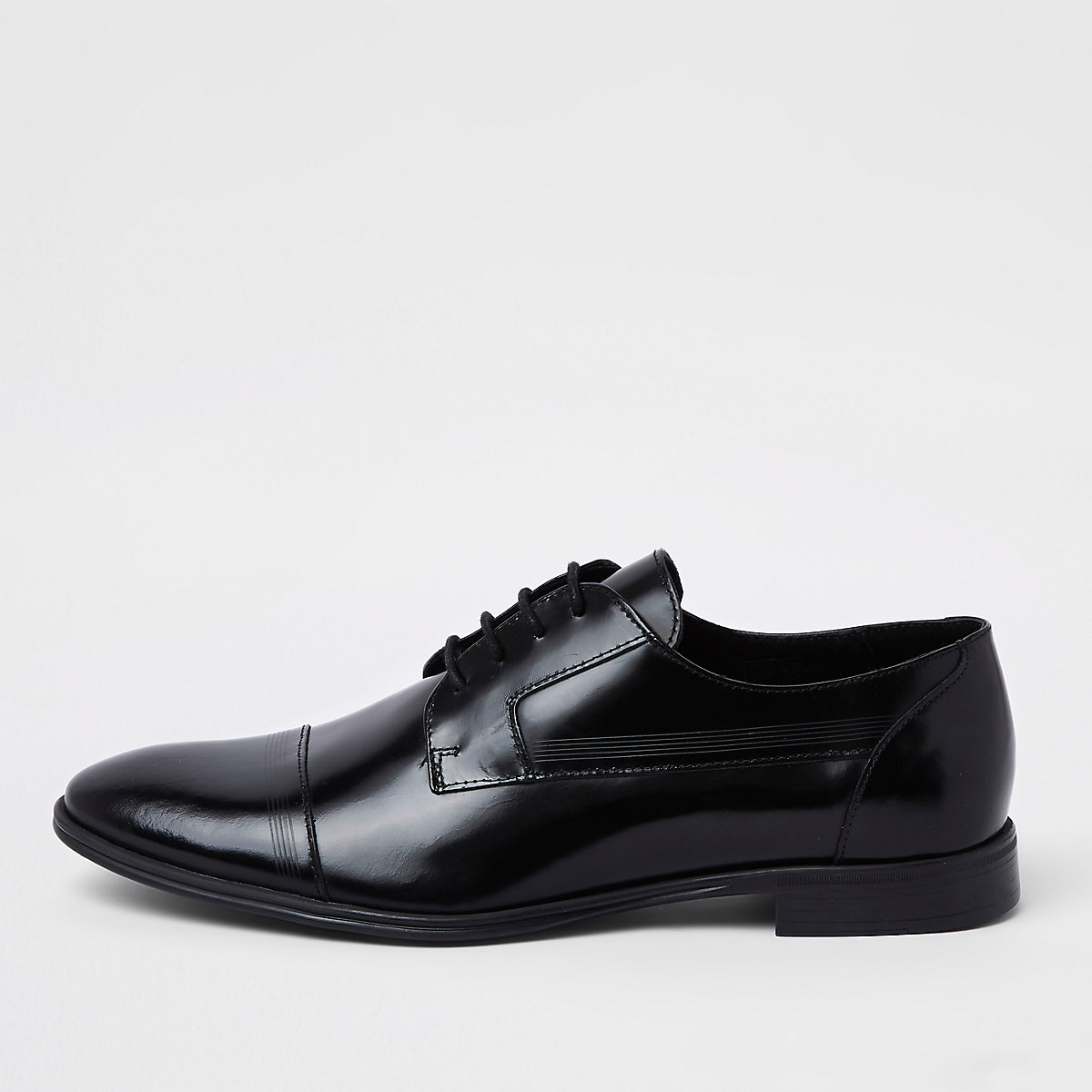 Black leather lace-up derby shoes