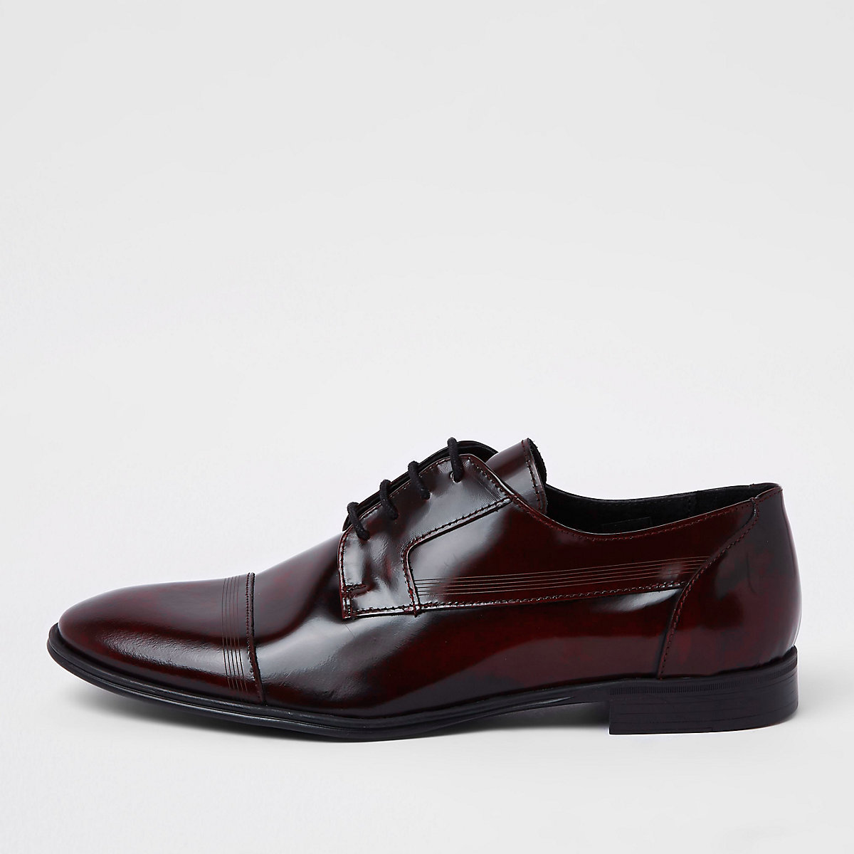Dark red leather lace-up derby shoes