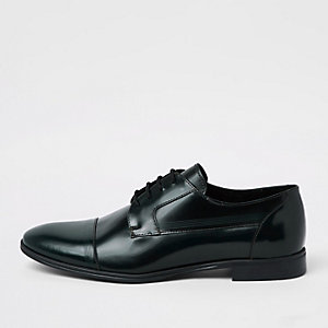 Dark green leather lace-up derby shoes