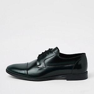 Dunkelgrüne Derby-Schuhe aus Leder