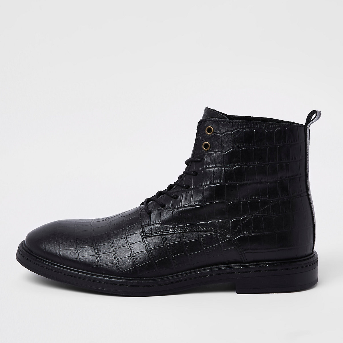 Black croc embossed leather boots