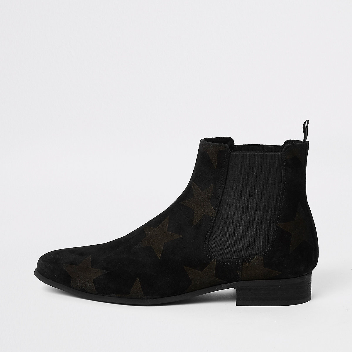 Black suede star embossed Chelsea boots