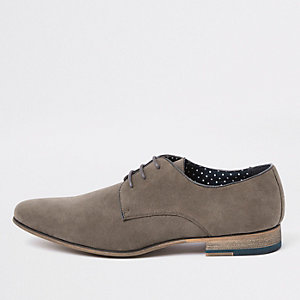 Grey suede lace-up derby shoes