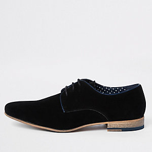 Black faux suede lace-up derby shoes