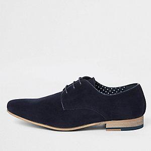 Chaussures derby bleu marine à lacets