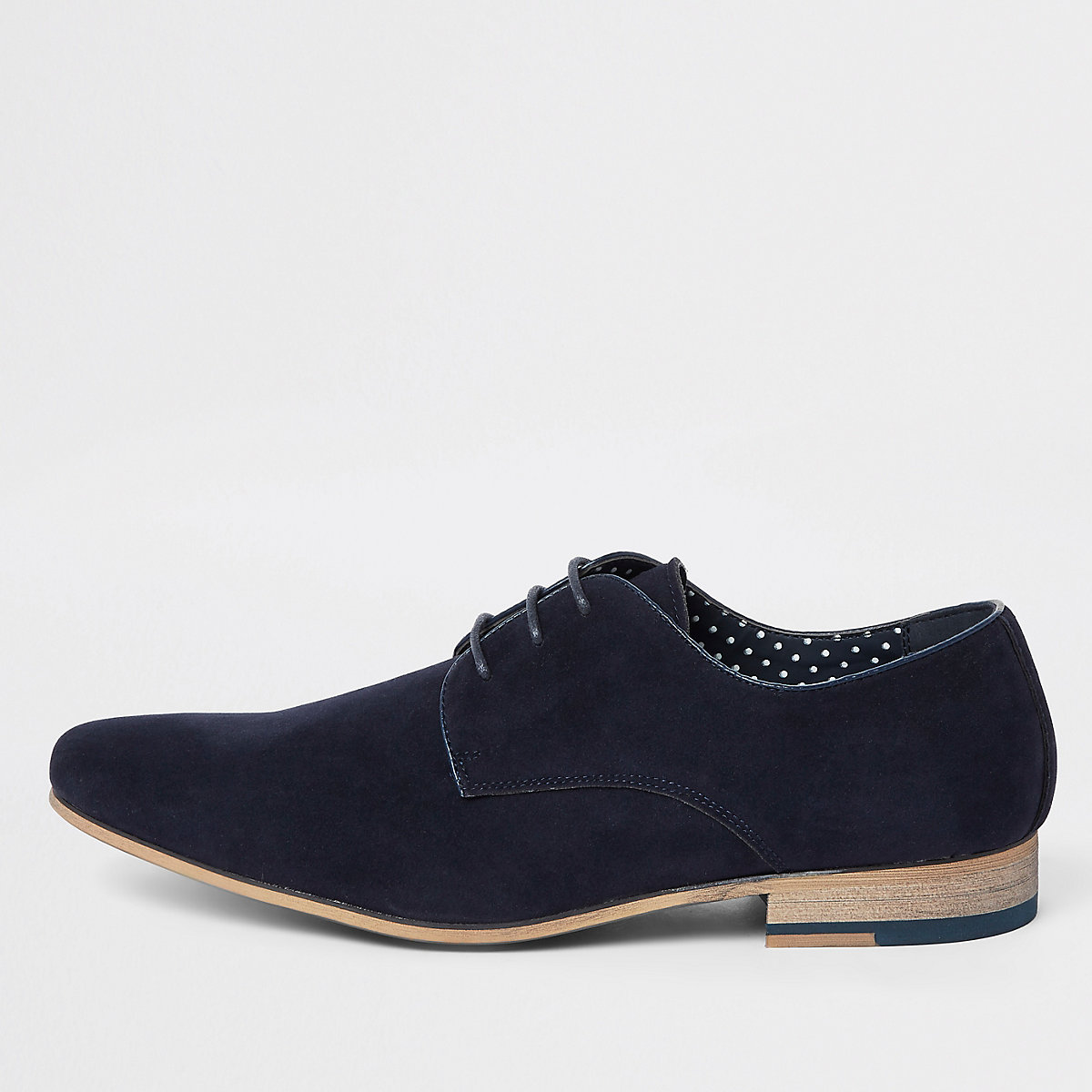 Navy lace-up derby shoes