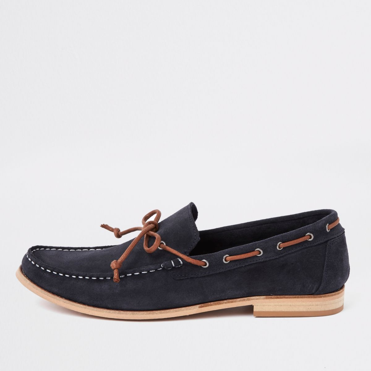 Navy suede tie front loafers