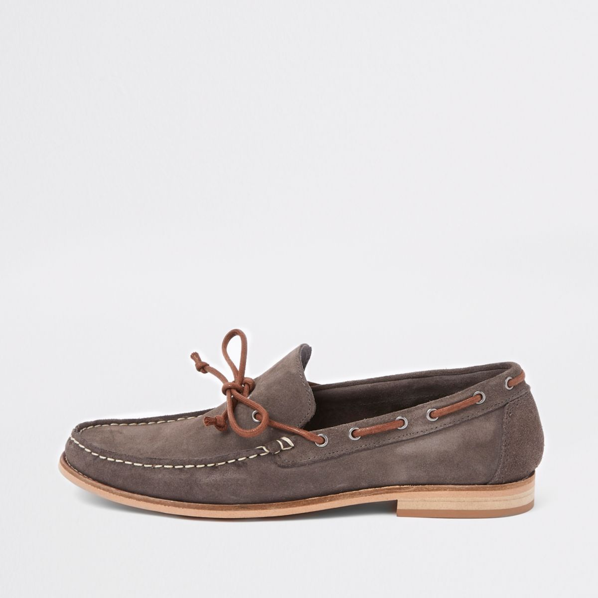 Brown suede tie front loafers