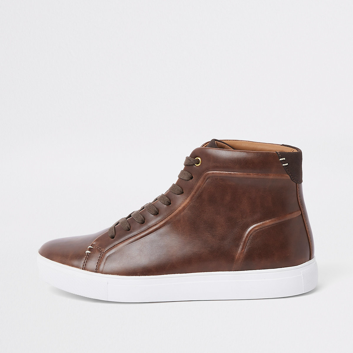 db2a0a095c31 Brown lace-up high top trainers - Trainers - Shoes   Boots - men