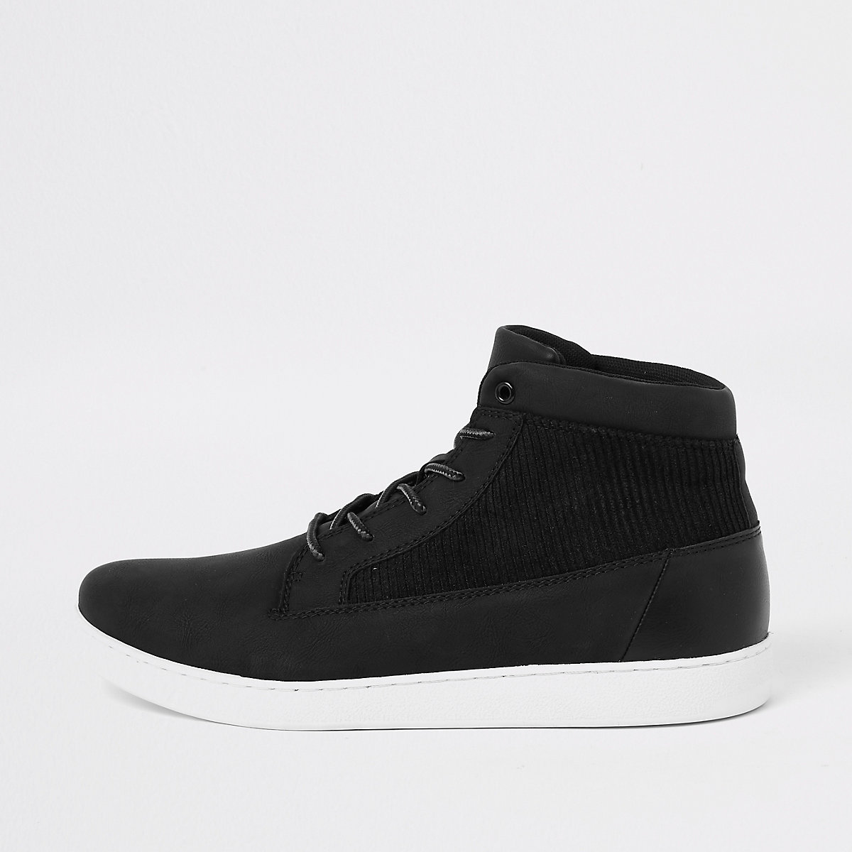 Black mid top cord panel sneakers