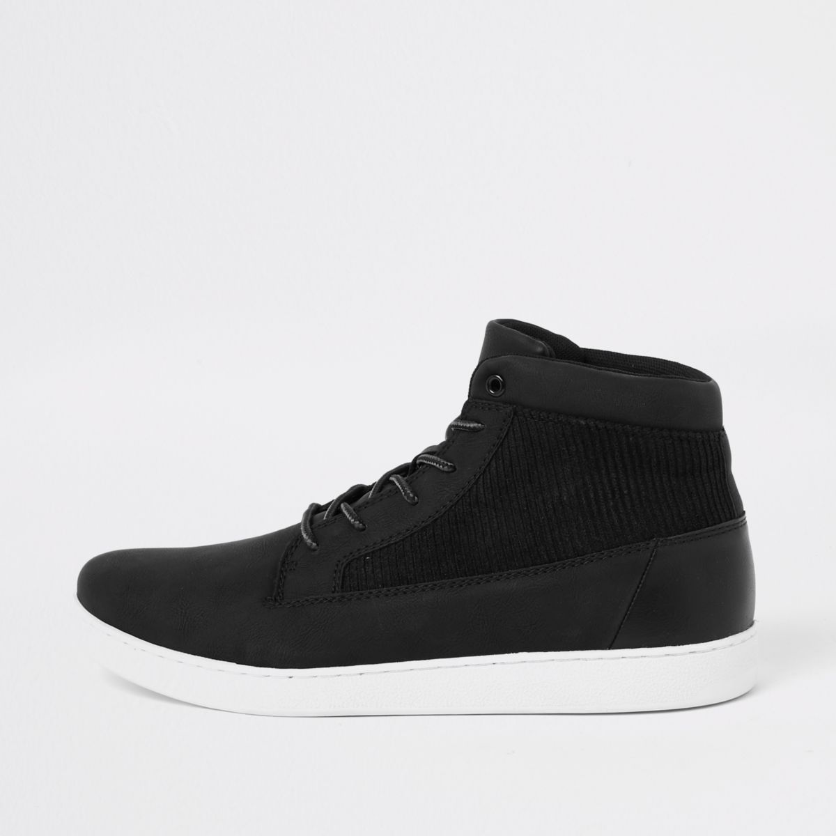 Black mid top cord panel sneakers
