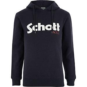 Schott navy logo print hoodie