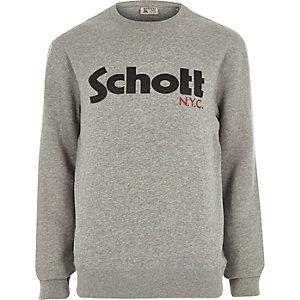 Schott – Grauer Sweatshirt mit Logo
