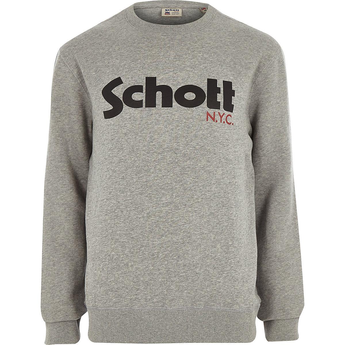 Schott grey logo print sweatshirt