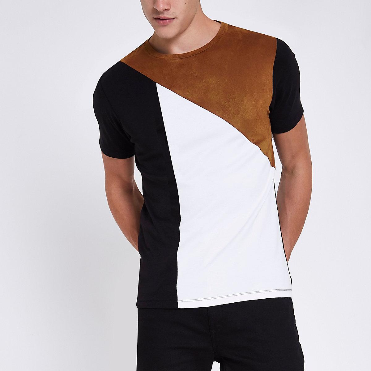 Black faux suede panel muscle fit T-shirt