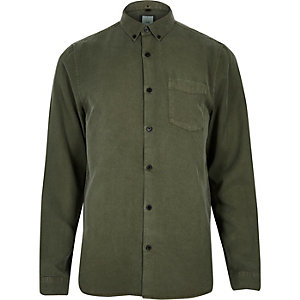 Khaki green button-up long sleeve shirt