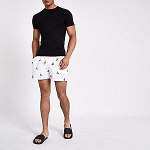 White pin-up girl print swim trunks