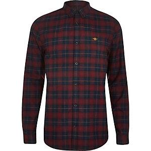 Chemise à carreaux rouge foncé à manches longues et broderies