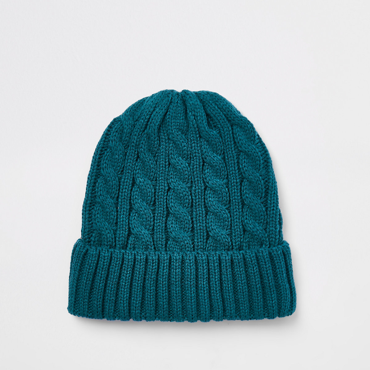 Blue cable knit fisherman beanie hat