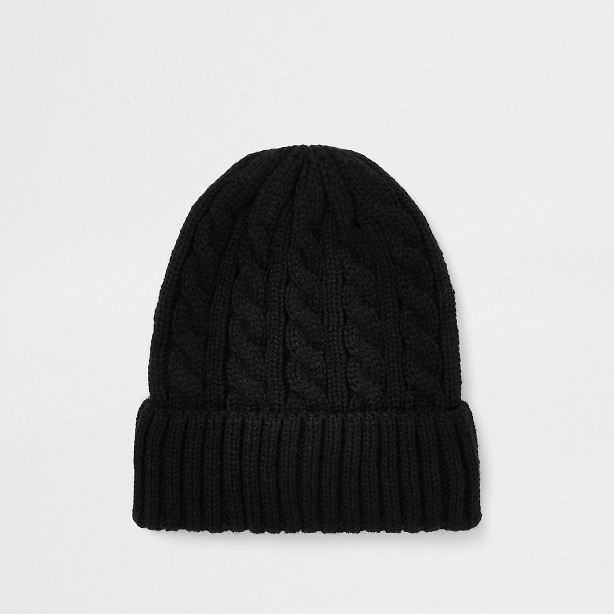 Black cable knit fisherman beanie hat