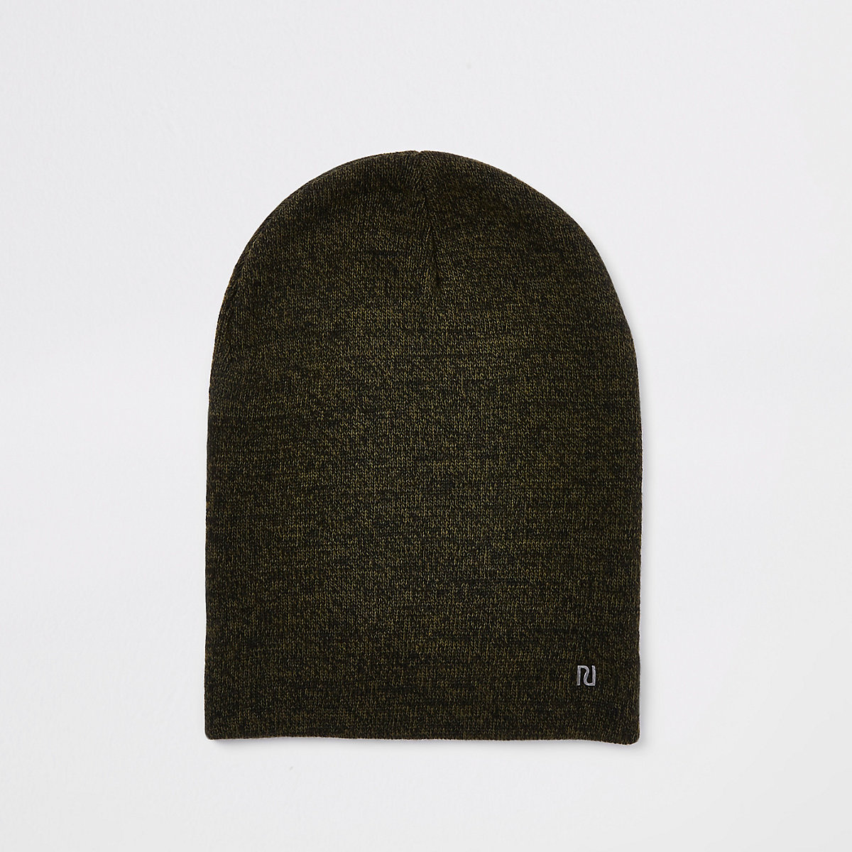 Khaki green twist knit slouch beanie hat