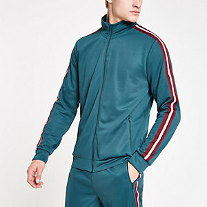 Veste de survêtement verte zippée à bandes latérales