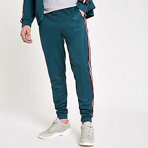 Teal green slim fit tape side joggers