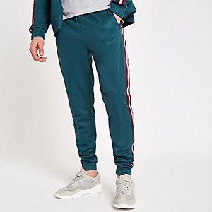 Pantalon de jogging slim vert canard à bandes latérales