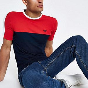 Navy muscle fit colour block T-shirt