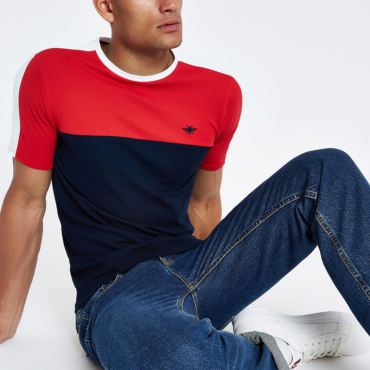 Navy muscle fit colour block T-shirt