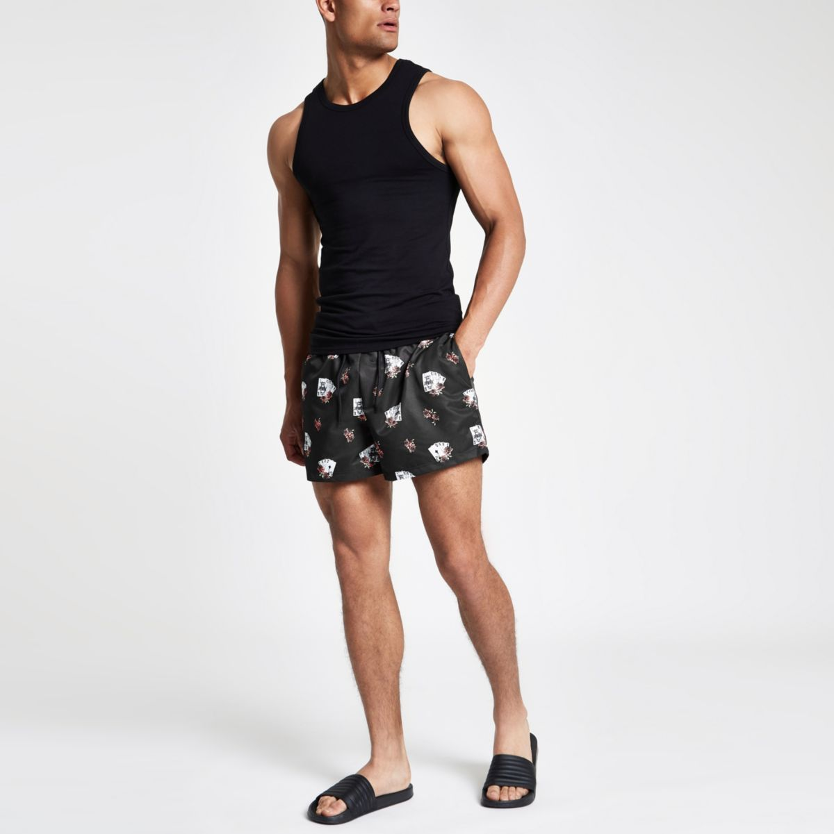 swim print tarot drawstring card shorts Black 6zwgpBq