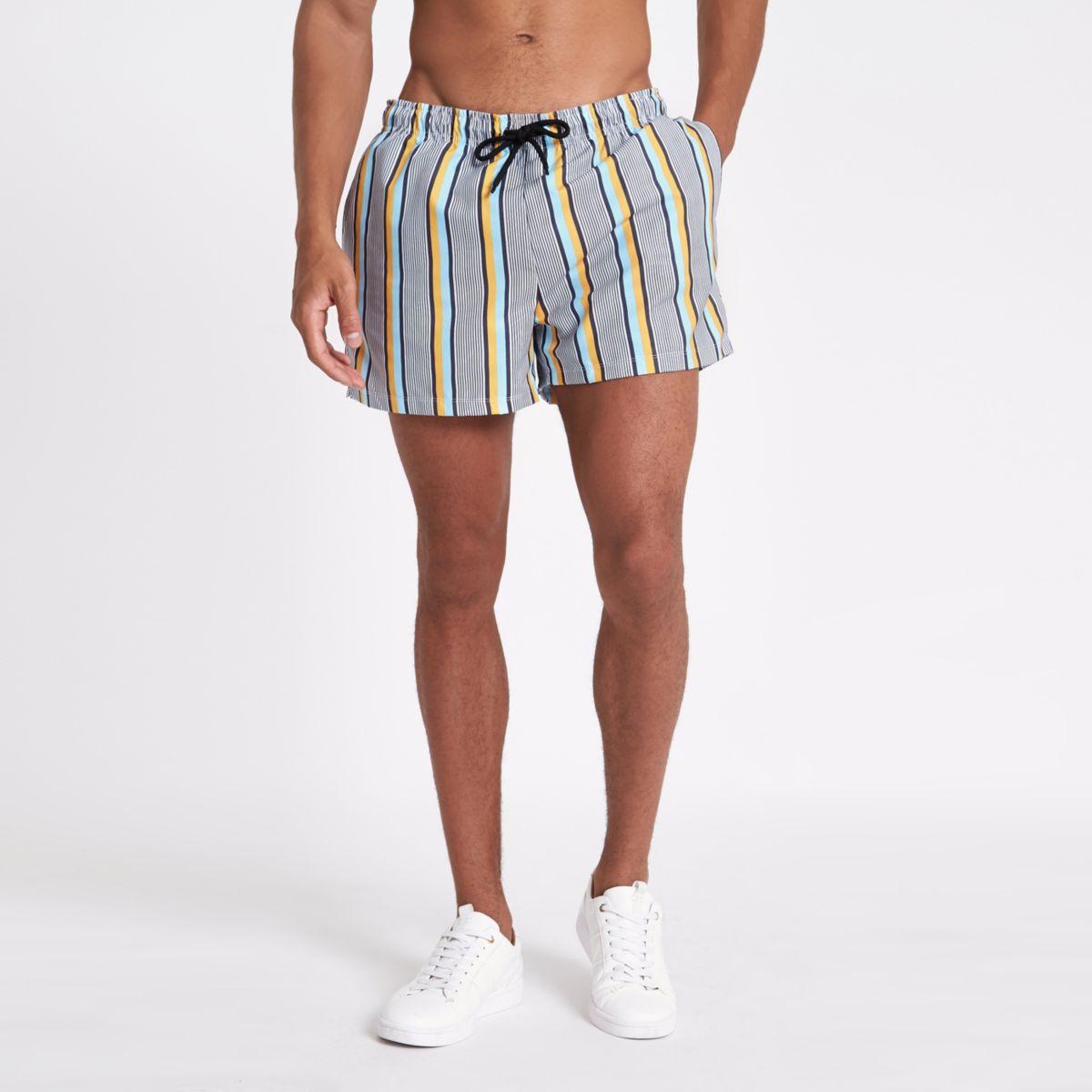 White stripe print skinny fit swim trunks