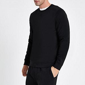 Schwarzes, langärmliges Sweatshirt mit Rundhalsausschnitt