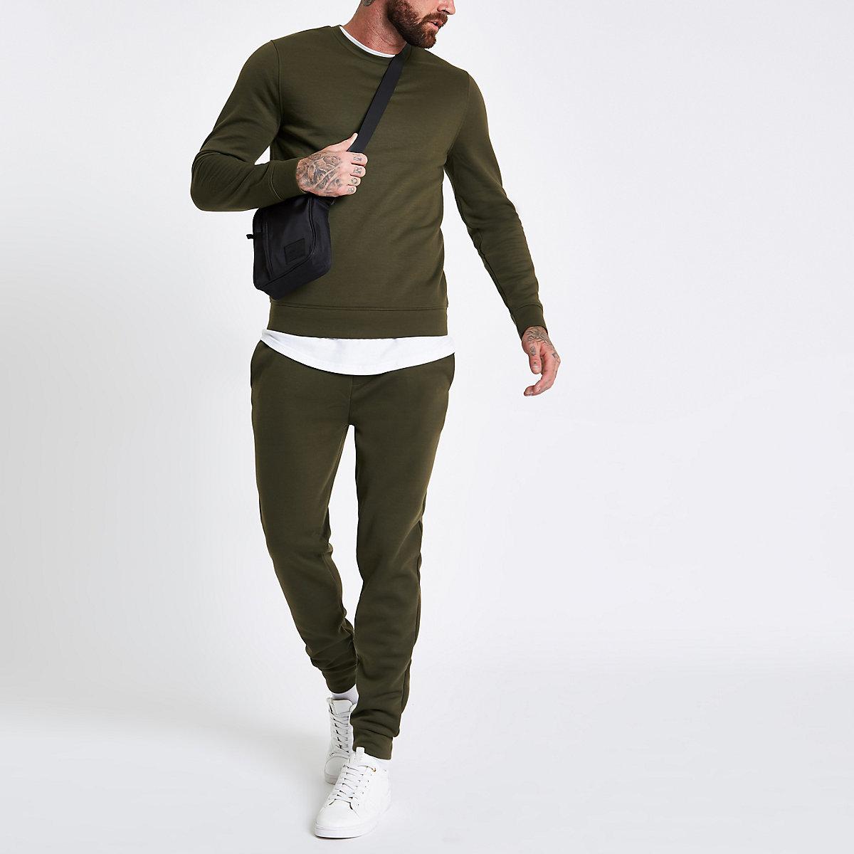 Khaki green crew neck long sleeve sweatshirt