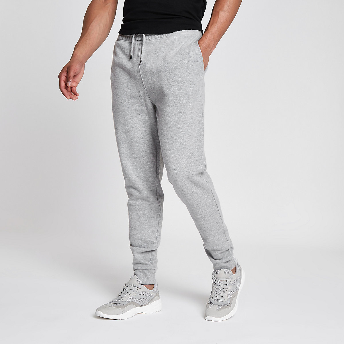 Grey marl slim fit pique jogger