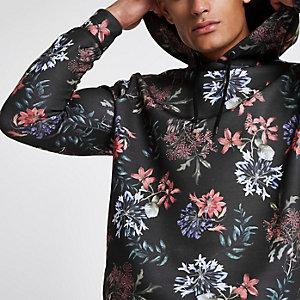 Sweat à capuche passepoilé slim à fleurs noir