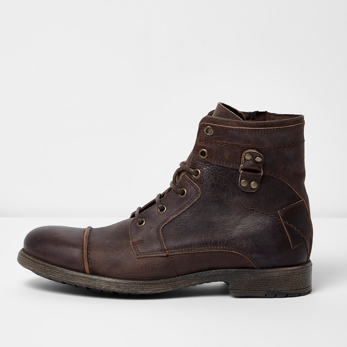 Dark brown leather lace-up military boots