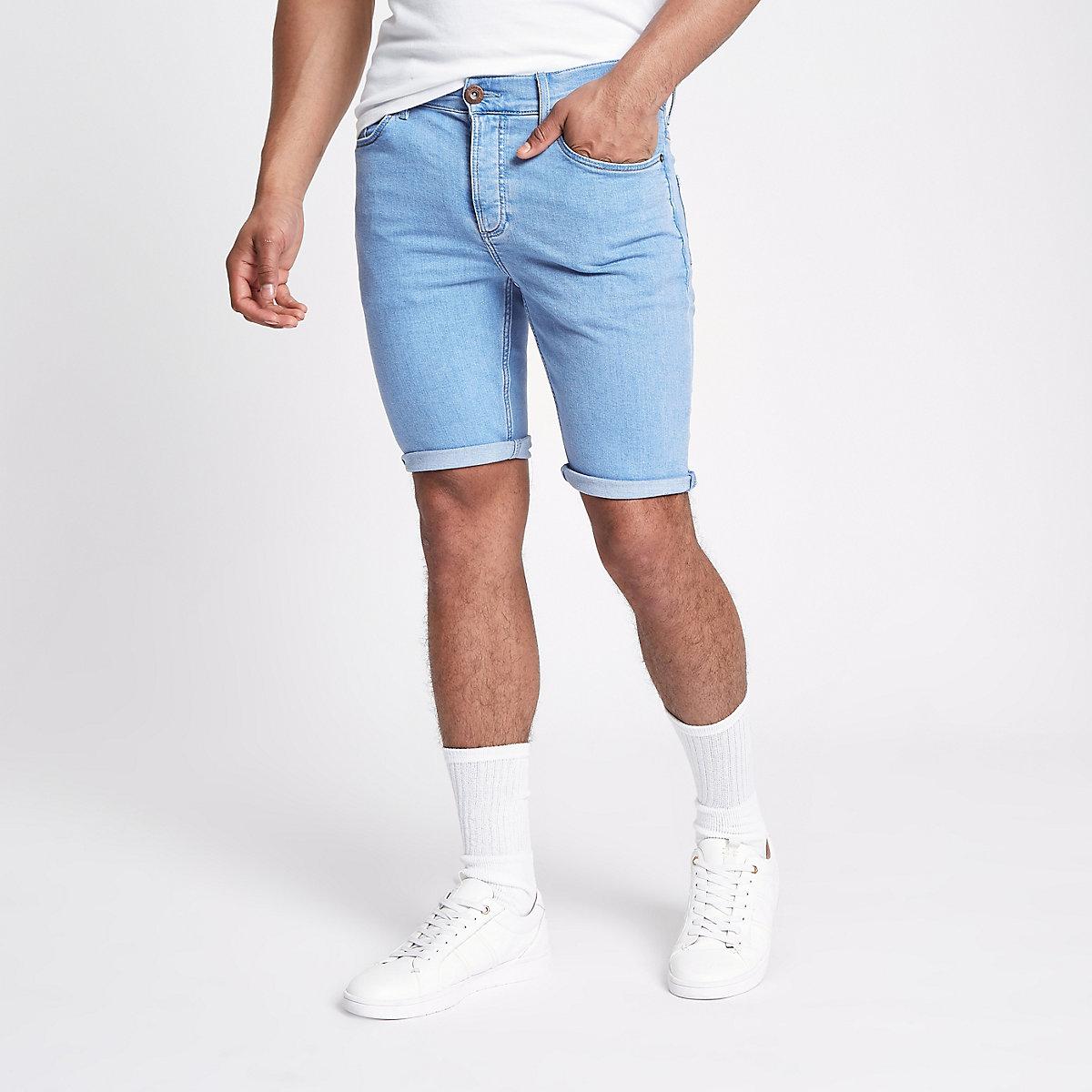Light blue skinny 90s denim shorts