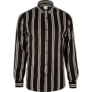 Chemise noire rayée à manches longues