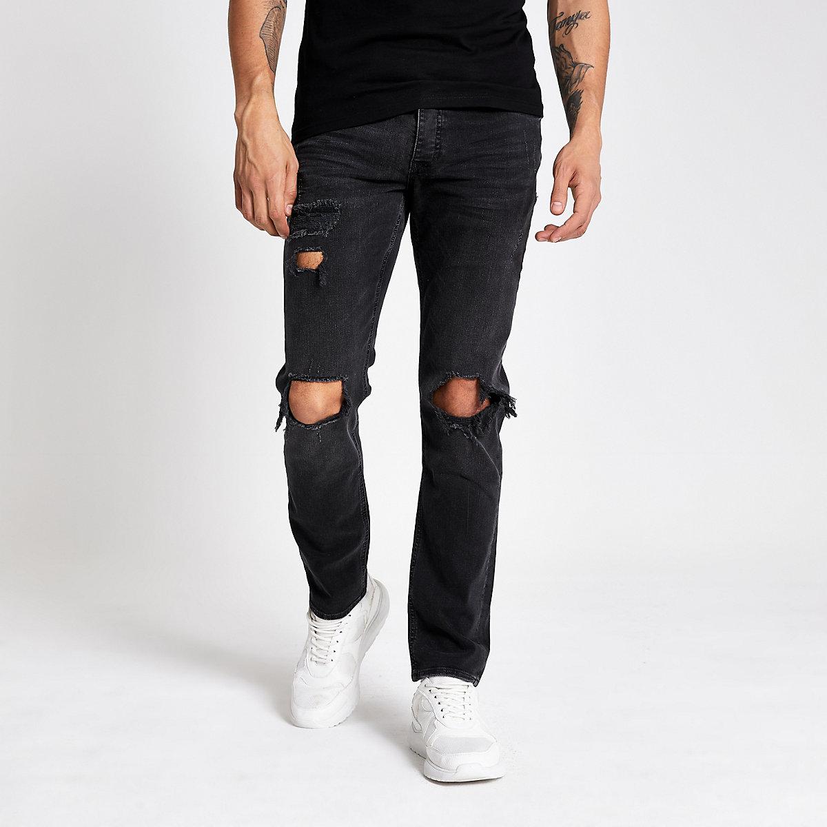 Dylan – Schwarze Slim Fit Jeans im Used Look