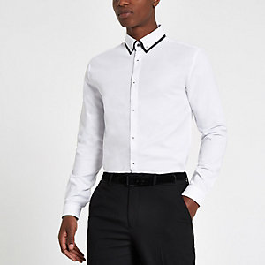 White slim fit long sleeve shirt