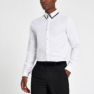 Wit slim-fit overhemd met lange mouwen