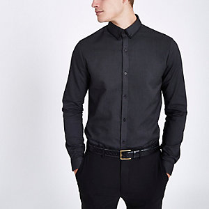 Grey slim fit long sleeve shirt